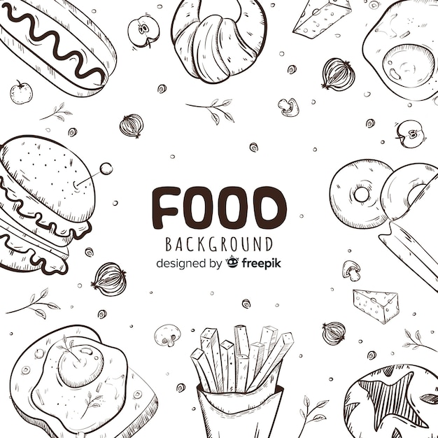 Hand drawn food background Premium Vector