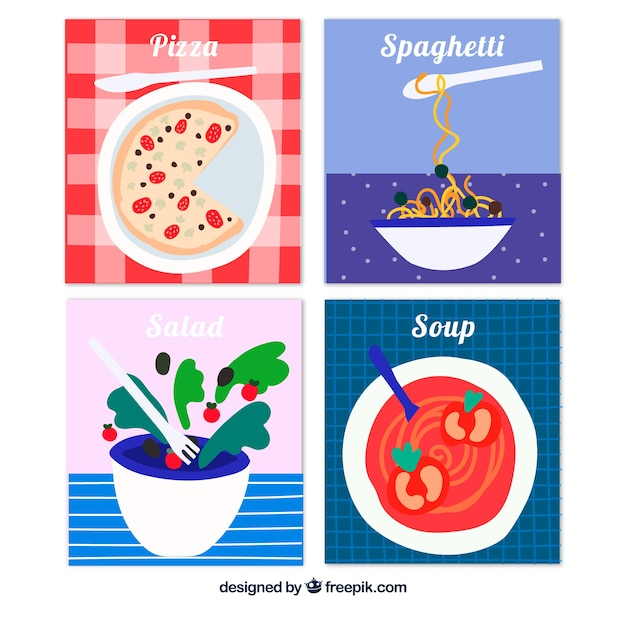Hand drawn food card collection Free Vector