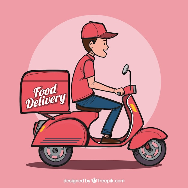 Hand drawn food delivery man Free Vector