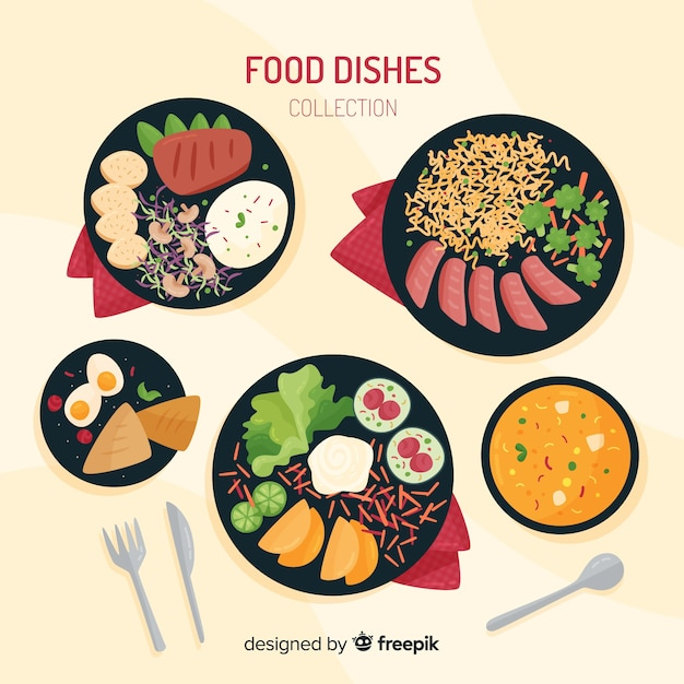 Hand drawn food dish collection Free Vector