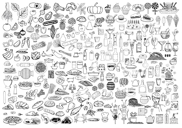 Hand Drawn Line Art Kitchen Food Elements