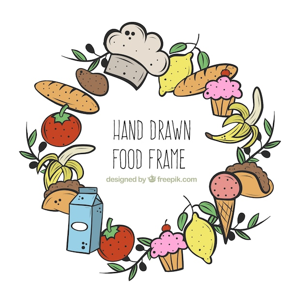 Hand drawn food frame with circular style Free Vector