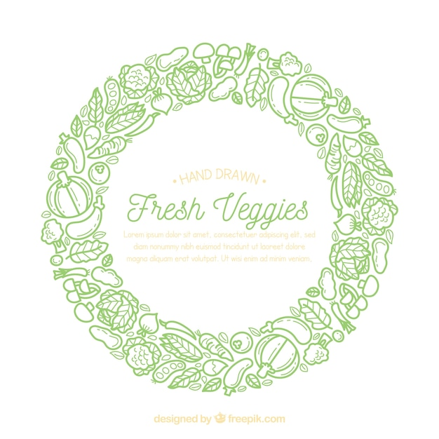Hand drawn food frame with vegetables Free Vector