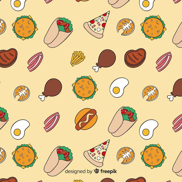 Hand drawn food pattern background Free Vector