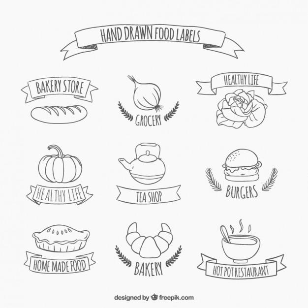 手描き食品のステッカー 無料ベクター