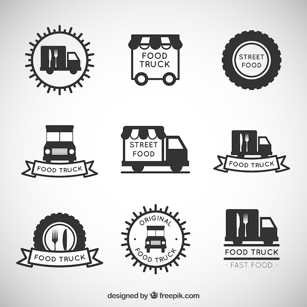 Hand drawn food truck logo collection Vector | Premium Download