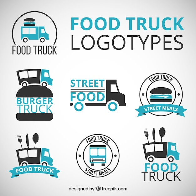 Hand Drawn Food Truck Logos With Blue Details Free Vector