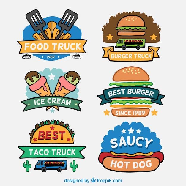 Hand Drawn Food Truck Logos Vector Free Download