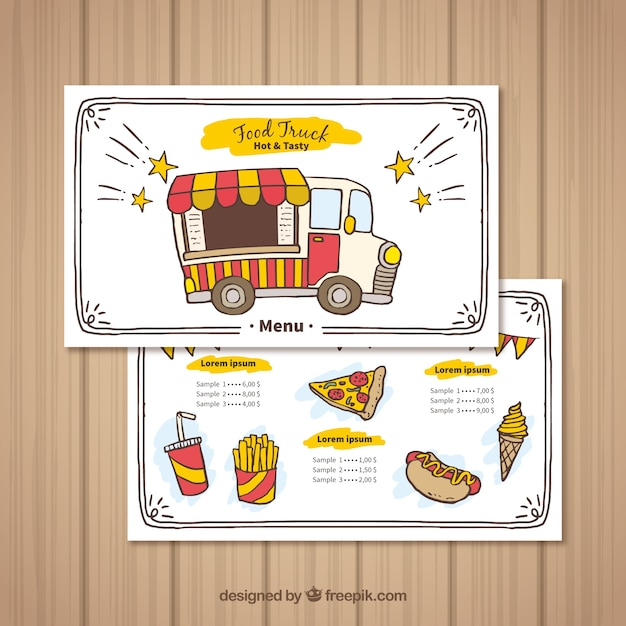 Hand drawn food truck mennu with happy style