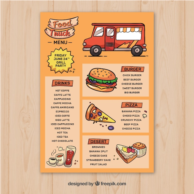 Hand drawn food truck menu template Vector | Free Download