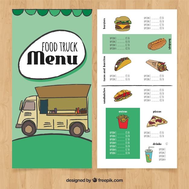 Hand drawn food truck menu with fast\ food