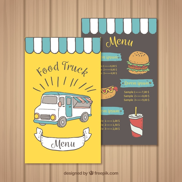 Hand drawn food truck menu with fun style
