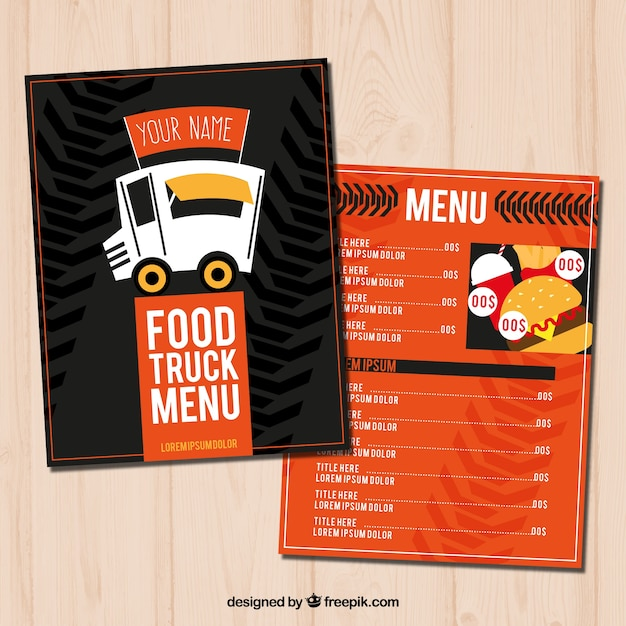 Hand drawn food truck menu with modern style