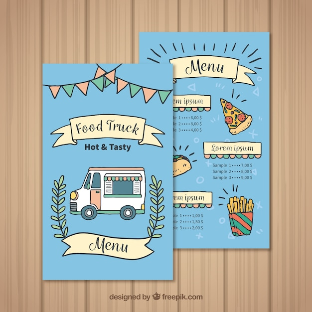 Hand drawn food truck menu with pizza