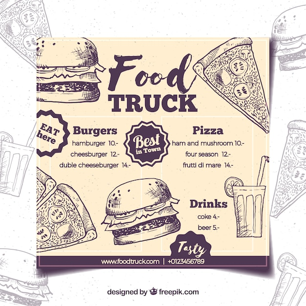 Hand drawn food truck menu with retro style