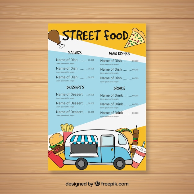 Hand drawn food truck menu with variety of fast\ food