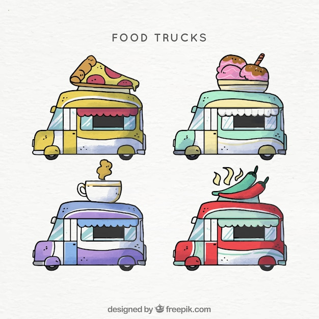 Hand drawn food trucks with cute style