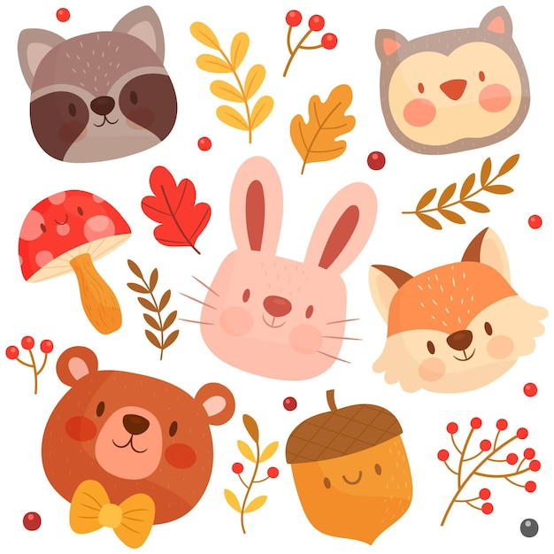 手描きの森の動物コレクション Premiumベクター