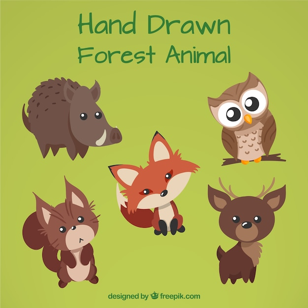 Hand drawn forest animals with lovely eyes Free Vector
