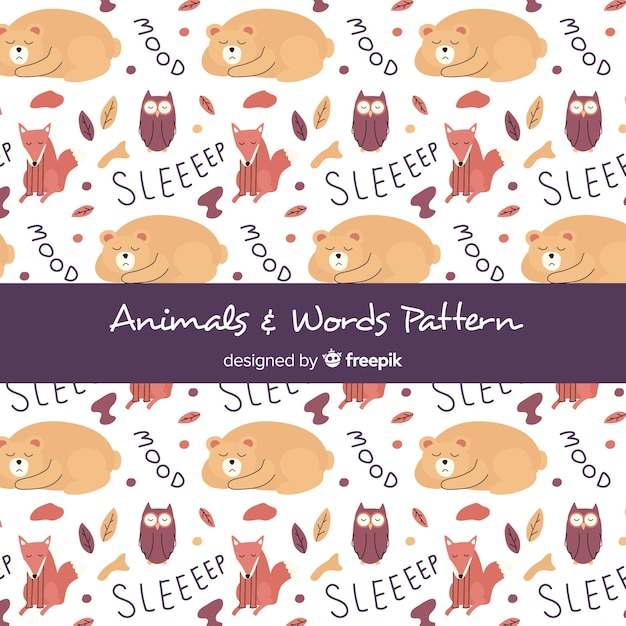 Hand drawn forest animals and words pattern Free Vector