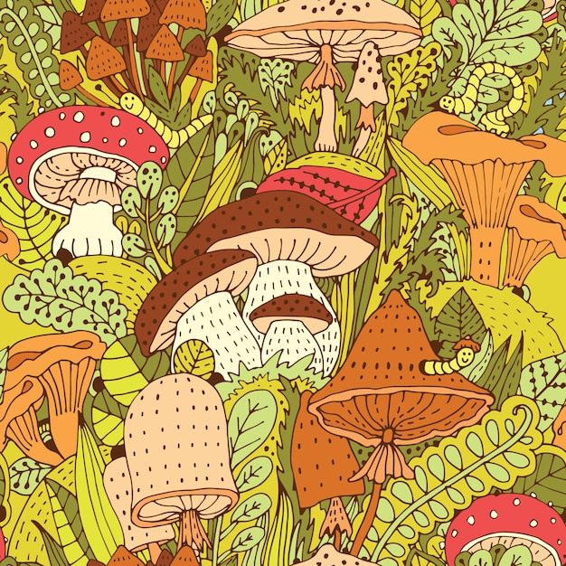 Ручной обращается лесной узор с различными видами абстрактных грибов Premium векторы