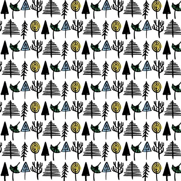 Hand drawn forest pattern