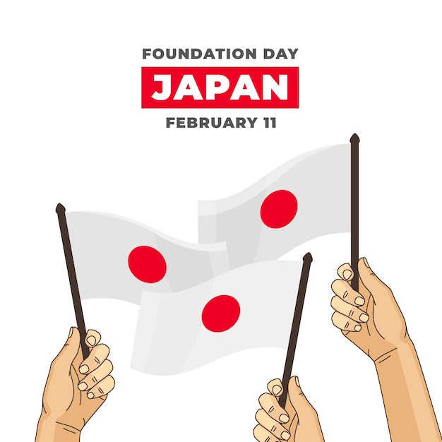 Hand drawn foundation day japan flags Free Vector