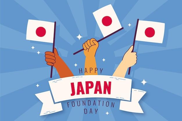 Giorno della fondazione disegnato a mano in giappone Vettore gratuito