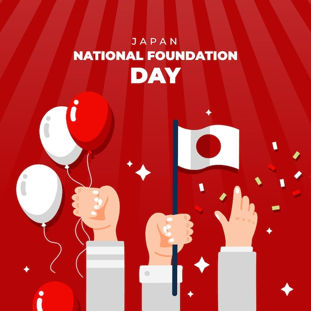 Hand drawn foundation day japan Premium Vector