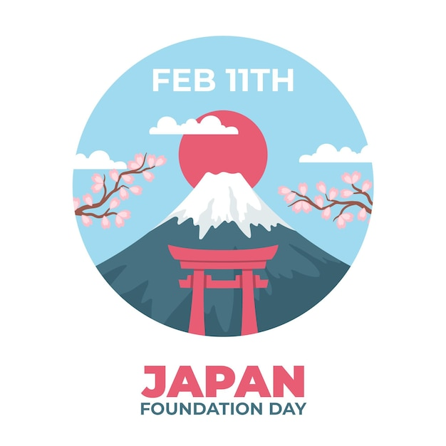 Hand drawn foundation day (japan) Free Vector