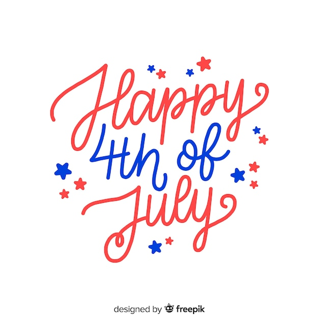 Hand drawn fourth of july lettering Free Vector