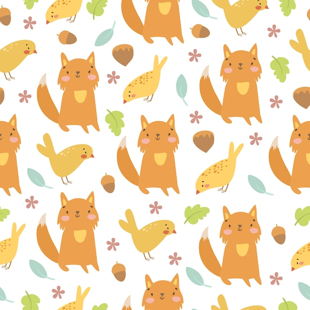 Hand drawn fox and birds pattern Free Vector