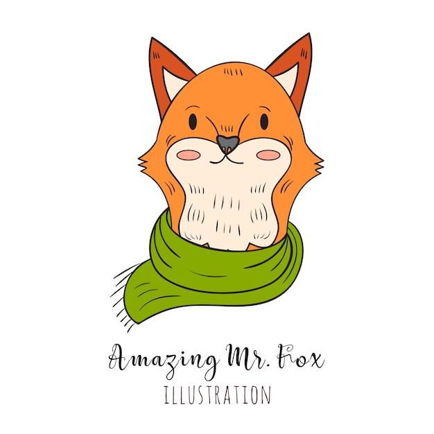 Рисованная лиса портрет в шарф и свитер, зимний вид Бесплатные векторы