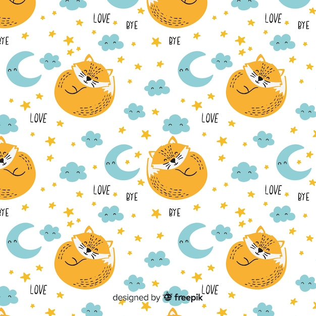 Hand drawn foxes and words pattern Free Vector