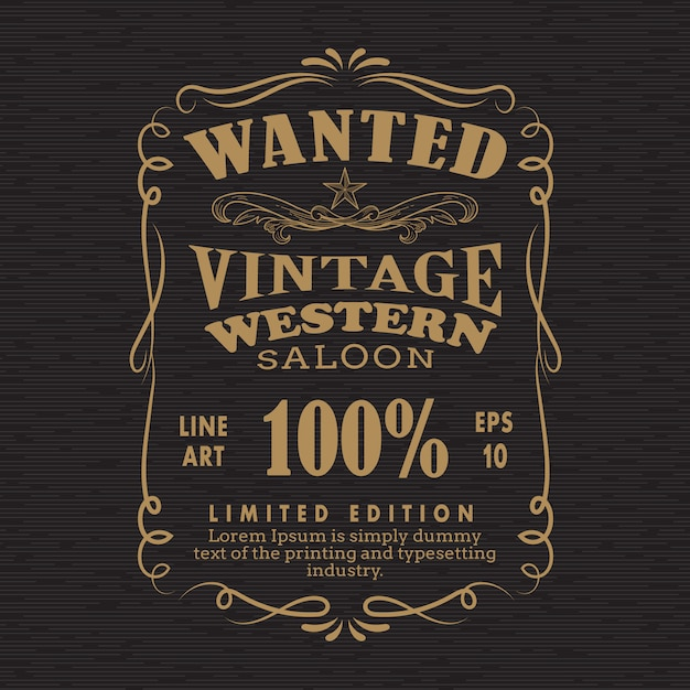 Hand drawn frame label blackboard retro vintage wanted banner ve Premium Vector