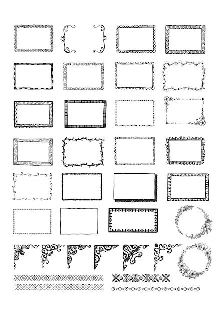 Hand drawn frames collection Free Vector