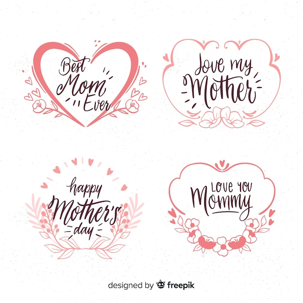 Hand drawn frames mother's day badge collection Free Vector