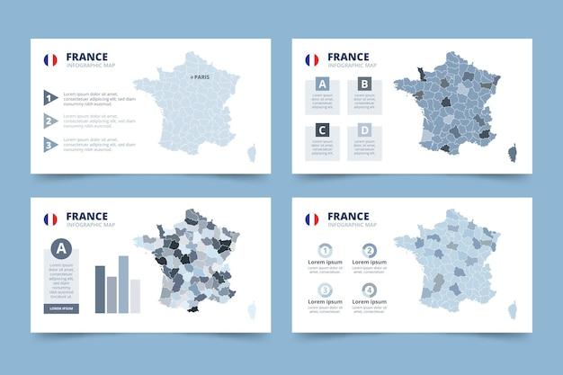 Mappa di francia disegnata a mano infografica Vettore gratuito