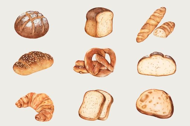 손으로 그린 신선한 빵 세트 무료 벡터