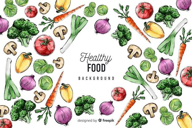 Hand drawn fresh food background Free Vector