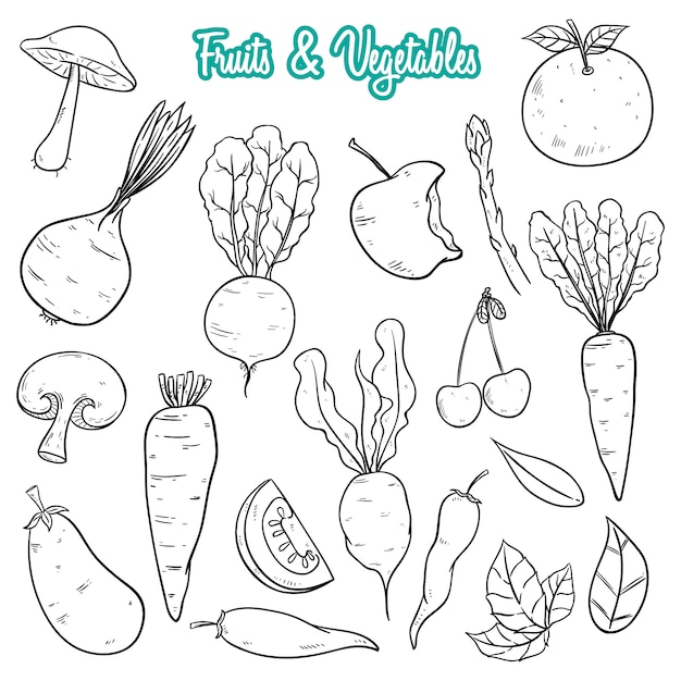 Hand drawn fresh fruits and vegetables collection Premium Vector