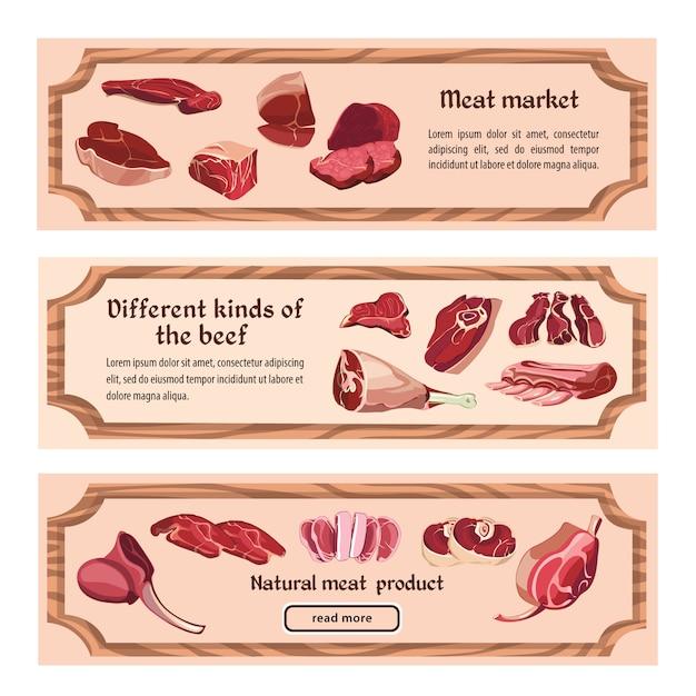 手描きの新鮮な肉の水平方向のバナー 無料ベクター