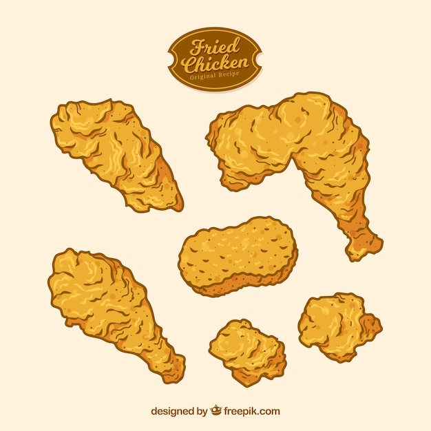 Hand drawn fried chicken Premium Vector