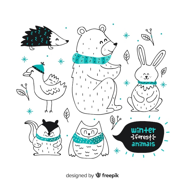 Hand drawn friendly animal collection Free Vector