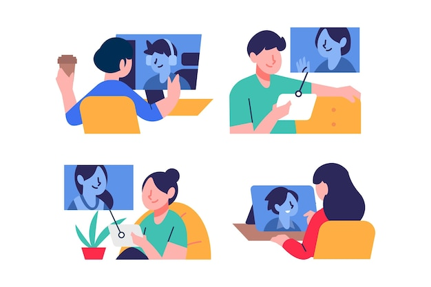 Scena di videoconferenza di amici disegnati a mano Vettore gratuito