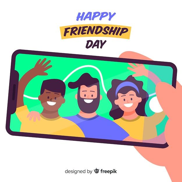 Hand drawn friendship day background Premium Vector