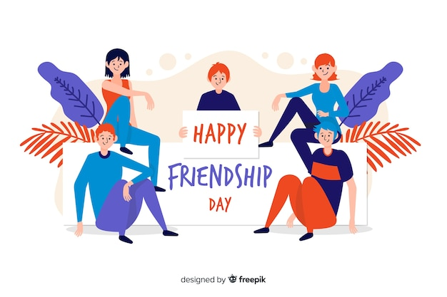 Hand drawn friendship day background Free Vector