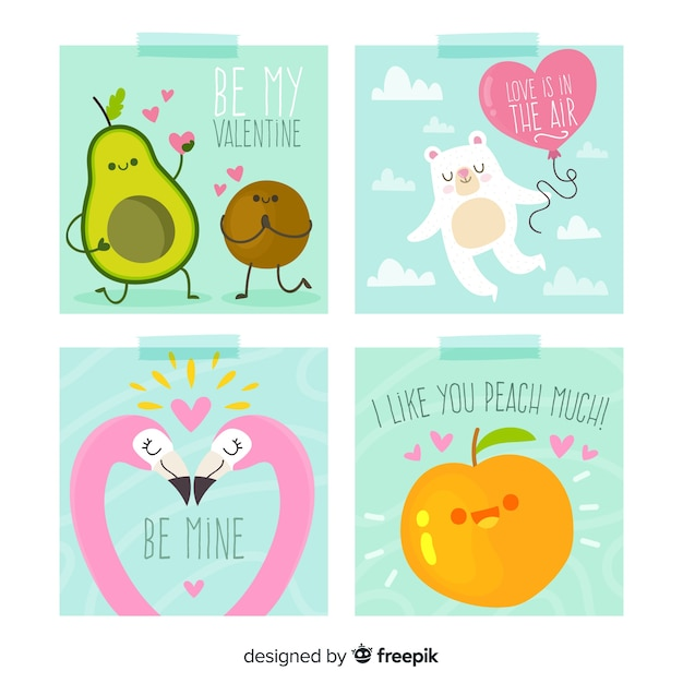 Hand drawn fruit and animals valentine card collection Free Vector