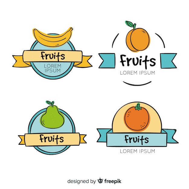 Hand drawn fruit label collection Free Vector