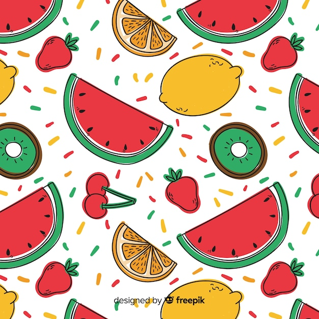 Hand drawn fruit pattern background Free Vector
